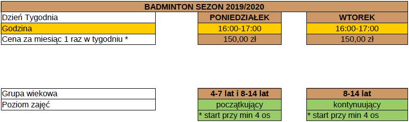 badminton – grafik zajęć